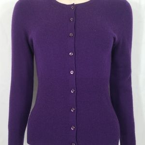Apt. 9 purple 100% Cashmere cardigan ladies Small